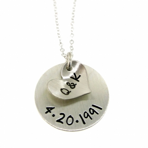 Our initials and anniversary date personalized customized our initials and anniversary date personalized customized sterling silver pendant necklace byhannahdesign aloadofball Images